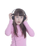 The smile little girl in headphones Royalty Free Stock Photo