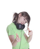 The smile little girl in headphones Royalty Free Stock Photography