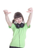The smile little girl in headphones Royalty Free Stock Image