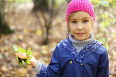 Smile little girl holds maple leaf Stock Images