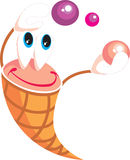 Smile little icecream with balls on holiday Royalty Free Stock Images