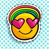 Smile in love emoticon. Happy smail in pop art style. Vector illustration Royalty Free Stock Image