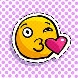 Smile in love emoticon. Happy smail in pop art style. Vector illustration vector illustration