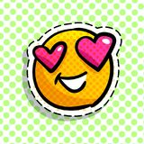 Smile in love emoticon. Happy smail in pop art style. Vector illustration Stock Images