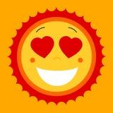 Smile lovely sweet cute sun. Vector cute sun symbol. Love sun em Royalty Free Stock Photo