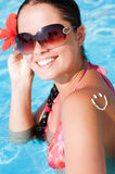 A smile made with suncream at the shoulder Stock Images