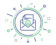Smile mail line icon. Positive feedback letter sign. Vector royalty free illustration
