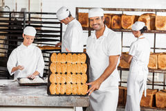 Smile Male Baker Showing Breads In Bakery Royalty Free Stock Images