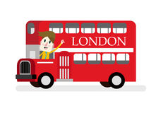 Smile man with red Die cast miniature London Route Master bus. stock illustration