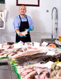 Smile man selling frozen good fish Stock Photography