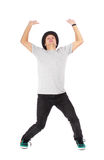 Smile man stand and expressing pressing up concept Stock Image