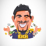 Smile man wearing gold necklace with money banknote and coins Ri. Ch and moneymanconcept -  illustration Stock Image