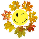 Smile and maple leaf Royalty Free Stock Photos