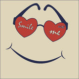 Smile with me. Be happy t-shirt, graphics, vector, sunglasses typography Royalty Free Stock Photography