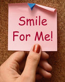 Smile For Me Note Means Be Happy Cheerful Stock Photos