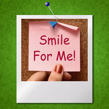 Smile For Me Photo Means Be Happy Cheerful Stock Photography
