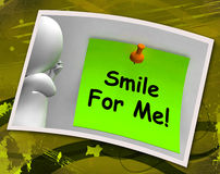 Smile For Me Photo Means Be Happy Cheerful Stock Images