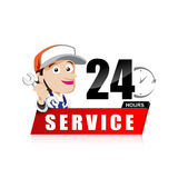 Smile mechanic man with tool in hand service 24 hours vector Stock Images