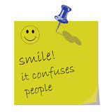 Smile message. Yellow Memo Reminder with Smile message 1 Royalty Free Stock Images