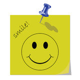 Smile message. Yellow Memo Reminder with Smile message 2 Royalty Free Stock Image