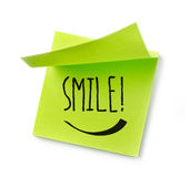 Smile message on adhesive note Stock Photography
