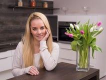 Smile in modern kitchen Royalty Free Stock Photos