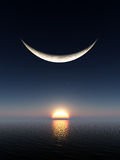 Smile Moon Sunrise. A smile shape fantasy moon over a sunrise and water horizon royalty free illustration