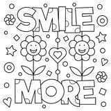 Smile more. Coloring page. Vector illustration. Smile more. Coloring page. Black and white vector illustration Stock Image