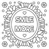 Smile more. Coloring page. Vector illustration. Smile more. Coloring page. Black and white vector illustration Stock Photo