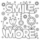 Smile more. Coloring page. Vector illustration. Smile more. Coloring page. Text. Vector illustration Stock Image
