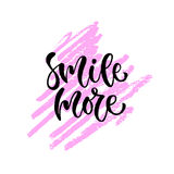 Smile more. Vector hand lettering. Modern inspirational hand lettered quote. Printable calligraphy phrase. T-shirt print Stock Photos