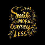 Smile more worry less. Motivational positive hand lettered phrase royalty free illustration
