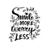 Smile more worry less. Motivational positive hand lettered phrase vector illustration