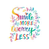 Smile more worry less. Royalty Free Stock Photography