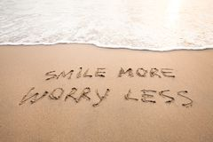 Smile more worry less - positive thinking. Concept, optimism Royalty Free Stock Images