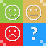 Smile Neutral Sad Faces Colorful Four Blocks Royalty Free Stock Images