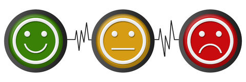 Smile Neutral Sad Faces Heartbeats Royalty Free Stock Photos