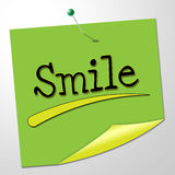Smile Note Shows Happy Optimism And Correspondence Stock Image