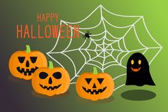 Smile orange pumpkins and black ghost with HAPPY HALLOWEEN text and black spider on spider web over dark green background. The top right area spider web is royalty free illustration