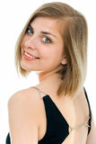 Smile over shoulder Royalty Free Stock Photo