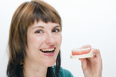 Smile for own teeth Stock Images