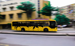 Smile. Panning shot of a city bus Royalty Free Stock Photos
