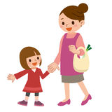 Smile of the parent and child are holding hands vector illustration