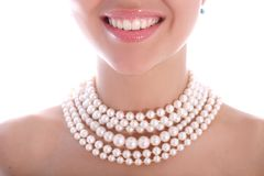 Smile and pearl Royalty Free Stock Images