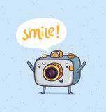 Smile photo. Cute photo camera character vector Stock Photography