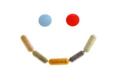 Smile of pills. Isolated on white background Royalty Free Stock Photos