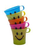 Smile plastic cups. Royalty Free Stock Photo