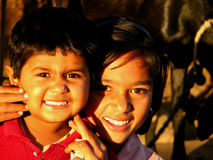 Smile Please. Cousins from an Indian village royalty free stock photo