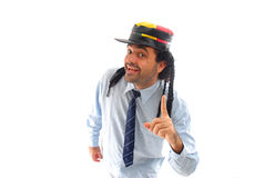 Smile and Point. Man with hat smile and point at up royalty free stock photos