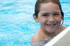 Smile in pool stock images
